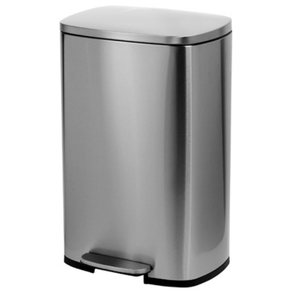 Honey-Can-Do TRS-08315 Stainless Steel Rectangle Step Can, 50 Liter