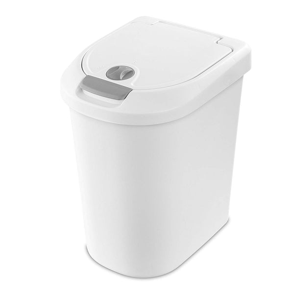 Sterilite 10998004 Locking TouchTop Wastebasket, White/Titanium, 7.3 Gal
