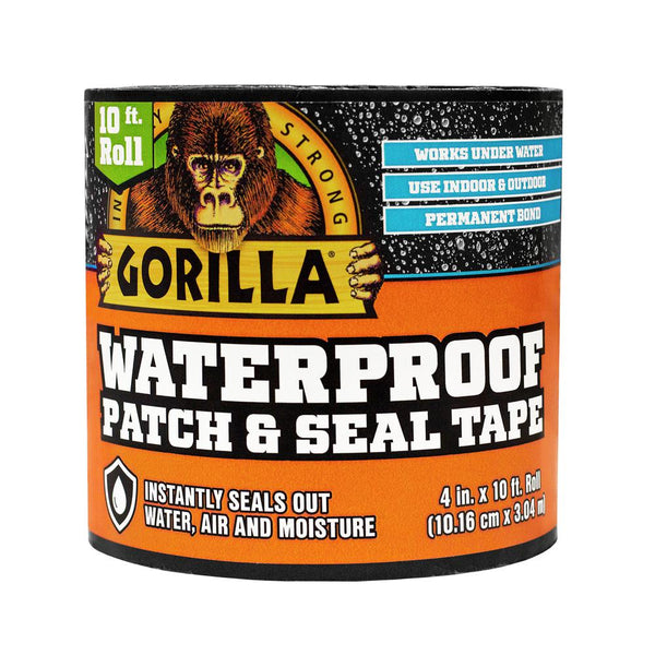 "Gorilla 4612502 Waterproof Patch & Seal Tape, 4"" x 10'"