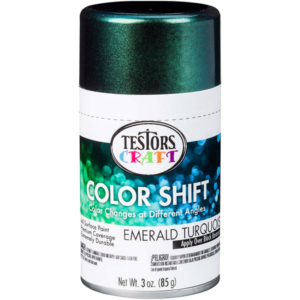 Testors Craft 330574 Color Shift Aerosol Can Paint, Emerald Turquoise, 3 Oz