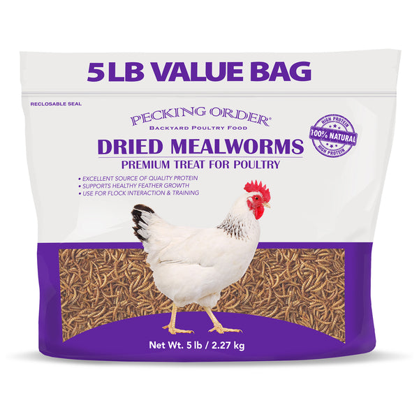 Pecking Order 009351 Dried Mealworms Premium Treat for Poultry, 5 Lbs