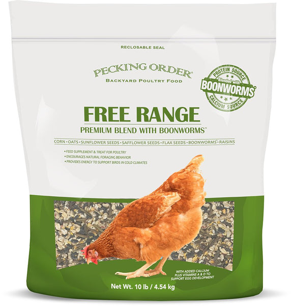 Pecking Order 009353 Free Range Premium Blend with Boonworms, 10 Lbs