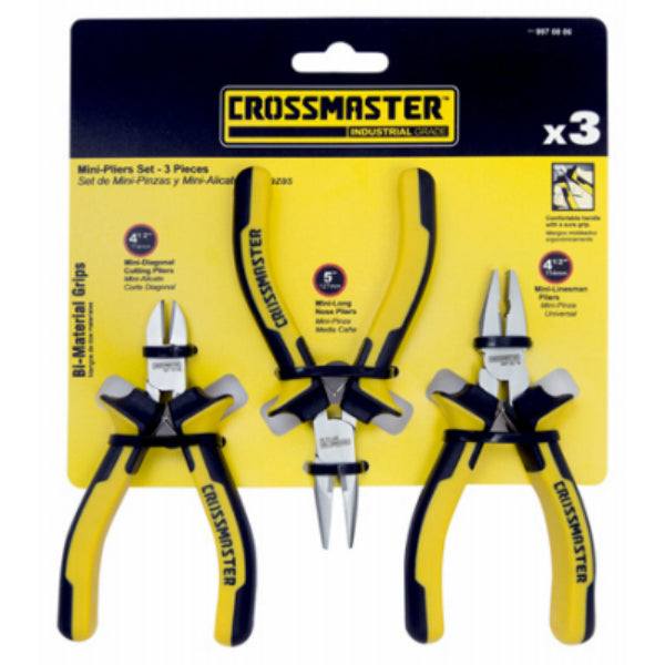 Crossmaster 9970806 Nickel Plated Mini-Pliers Set with Bi-Material Grips, 3-PC
