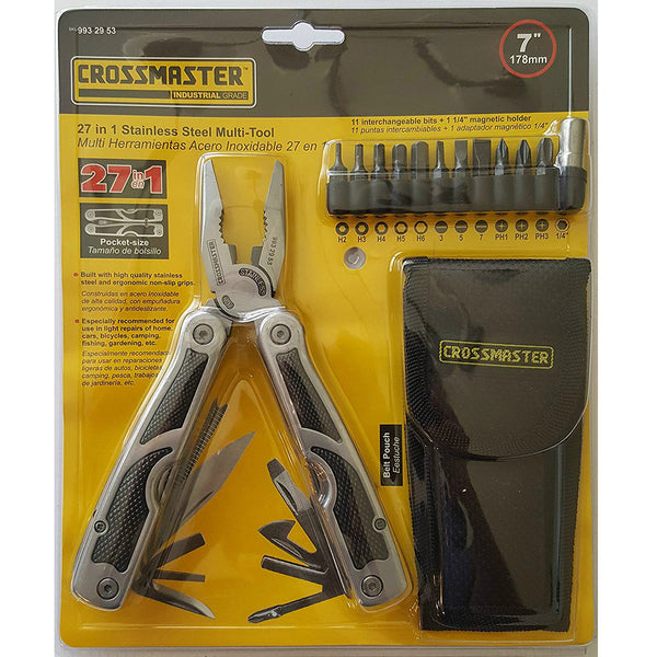 Crossmaster 9932953 Xtraforce 27-in-1 Stainless Steel Multi-Tool with Grips, 7""