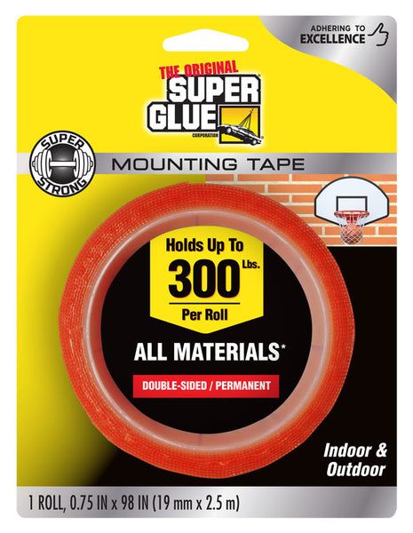 "Super Glue 11710506 Super Strong Double-Sided Mounting Tape, 0.75"" x 98"""