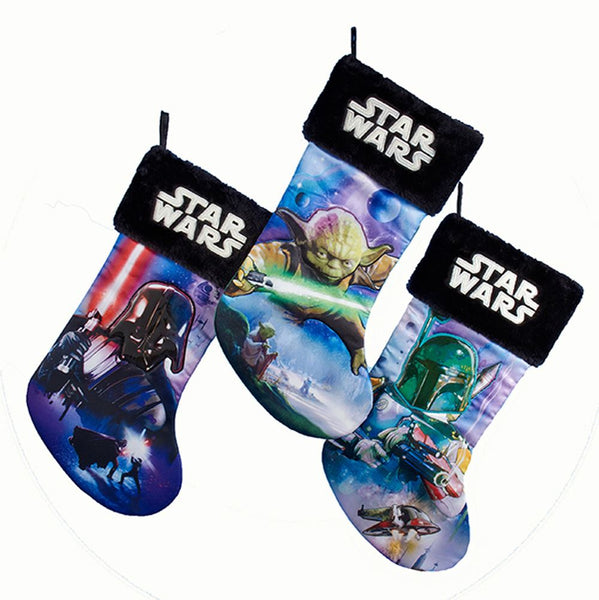 Kurt Adler SW7155 Christmas Star Wars Printed Applique Stockings, Assorted