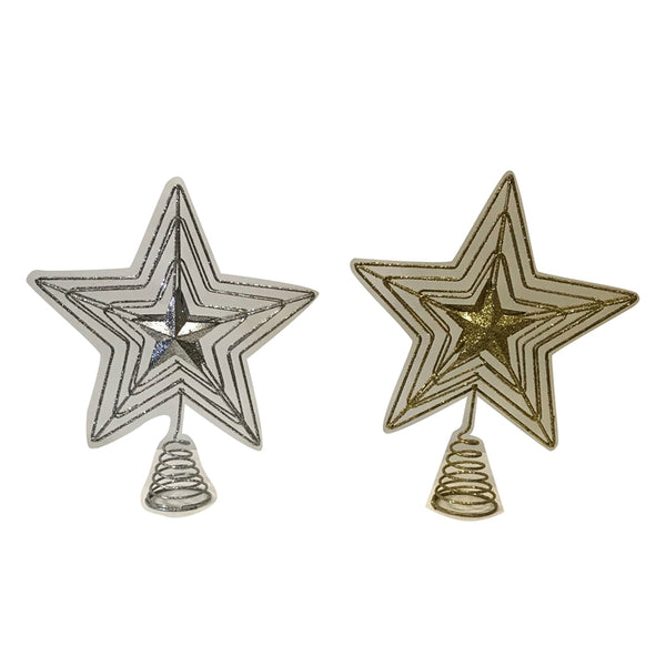 Santas Forest 99737 Shatterproof Christmas Star Tree Top, Gold/Silver, 30 cm