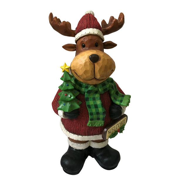Santas Forest 87311 Christmas Moose with Welcome Sign, 21""