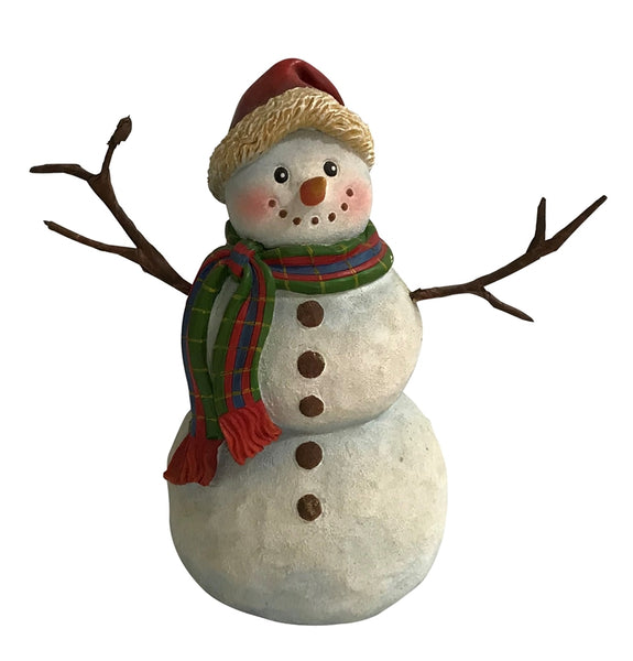 Santas Forest 89325 Christmas Snowman with Stick Arm, Resin, 8""