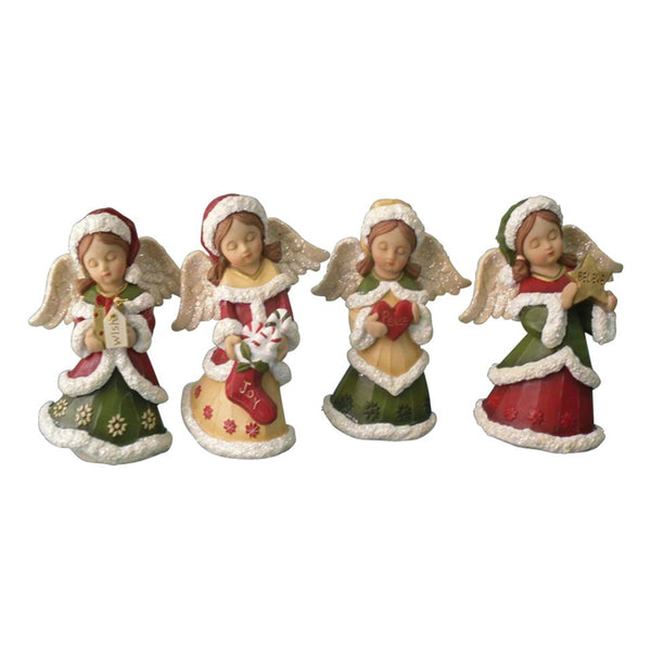 Santas Forest 89323 Christmas Assorted 4-Piece Angel, Resin, 6""