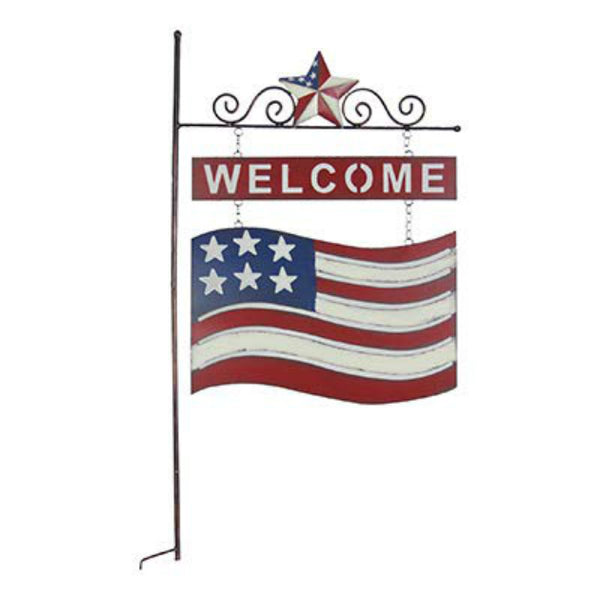 "Exhart 50875 USA Flag Welcome Sign Garden Stake, 17.5"" Tall"