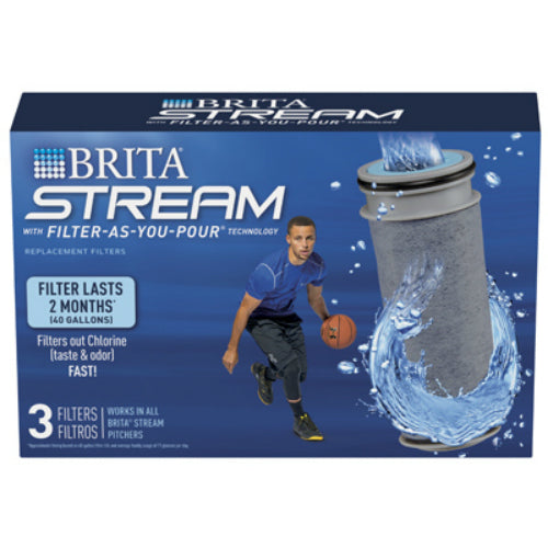 Brita 36215 Stream Filter-As-You-Pour Pitcher Replacement Filter, 3-Pack