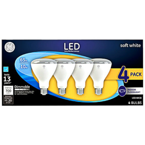 GE 40925 Dimmable BR30 LED Indoor Floodlight Bulb, Soft White, 10W, 4-Pack