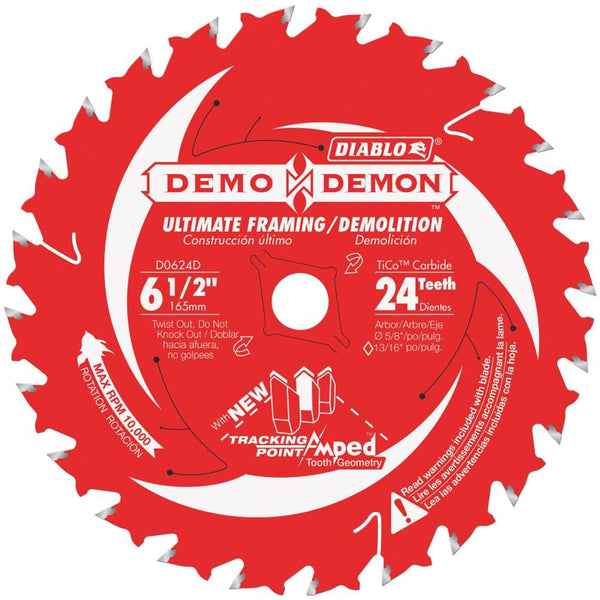 Diablo D0624DA Demo Demon Ultimate Framing / Demolition Saw Blade, 24 Tooth, 6-1/2""