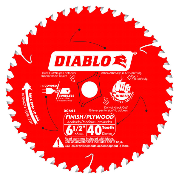 Diablo D0641A Finish/Plywood Trim Circular Saw Blade, 40 Tooth, 6‑1/2""