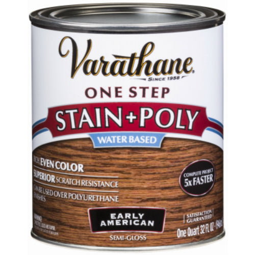 Varathane 336361 One Step Water-Based Stain & Polyurethane, Early American, Qt