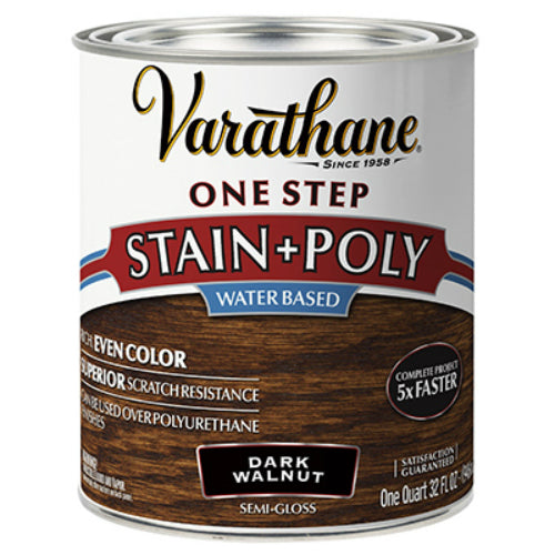 Varathane 337037 One Step Water-Based Stain & Polyurethane, Dark Walnut, 1-Qt