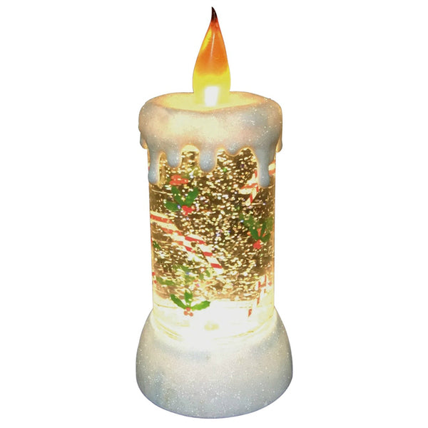 Santas Forest 21303 Christmas Glitter LED Candle, 9""