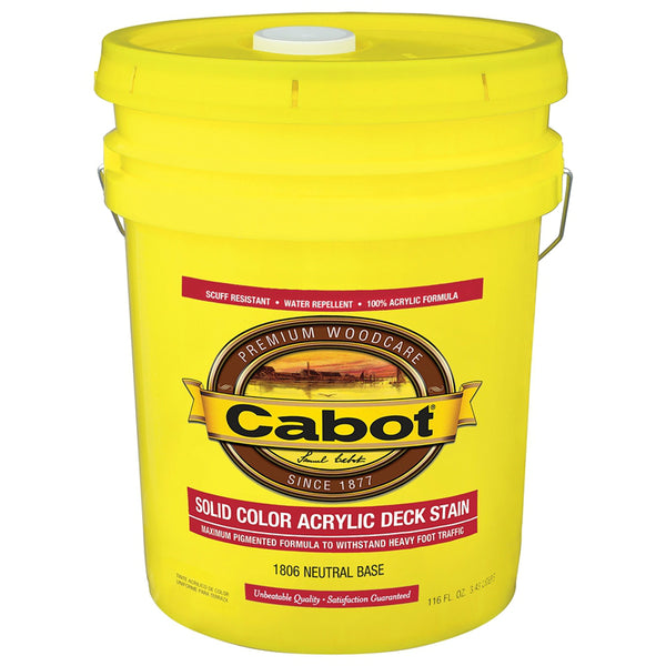 Cabot 140-0001806-008 Solid Color Acrylic Deck Stain, Neutral Base, 5 Gallon