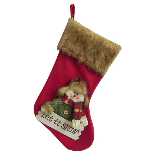 Santas Forest 49323 Christmas Country Snowman Stocking, 19""