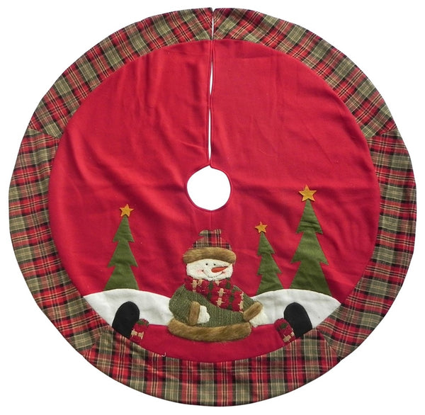 "Santas Forest 49325 Christmas Country Snowman Tree Skirt, 42"" Diameter"