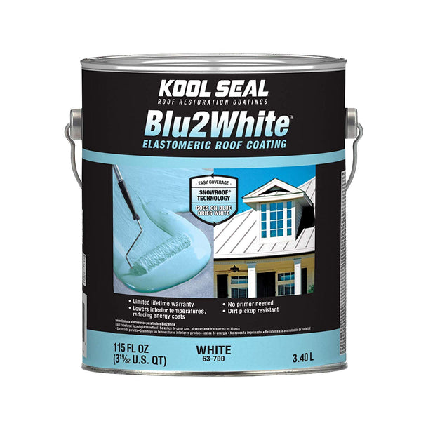 Kool Seal KS0063700-16 Blu2White Elastomeric Roof Coating, White, 1-Gallon