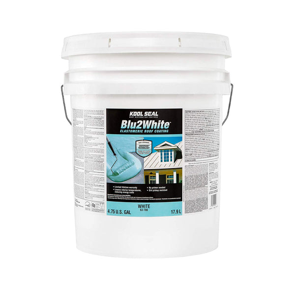 Kool Seal KS0063700-20 Blu2White Elastomeric Roof Coating, White, 5 Gallon