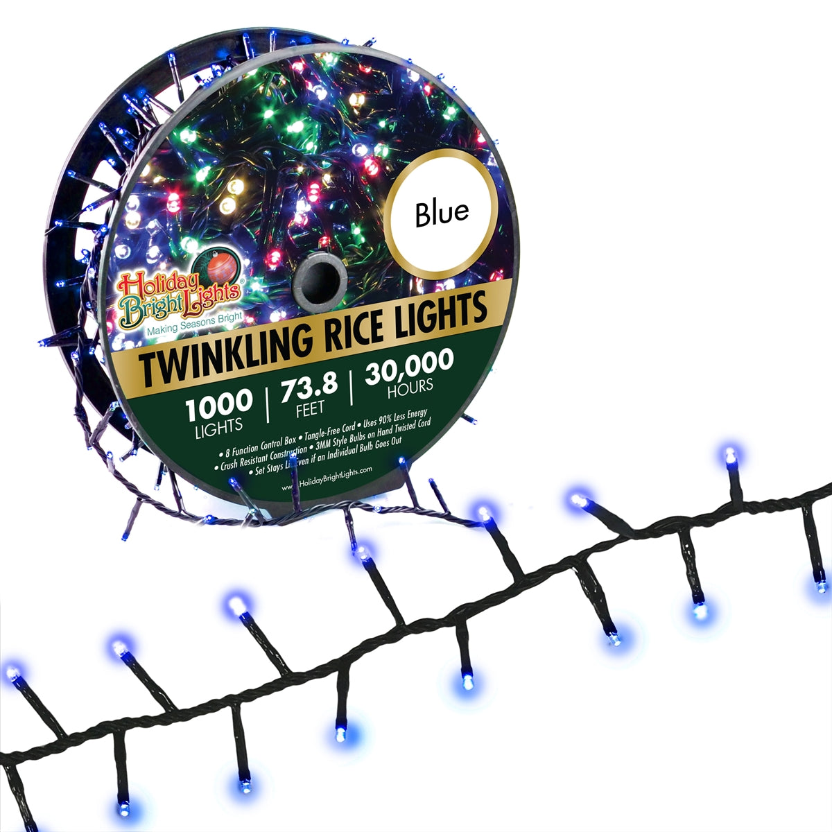 Holiday Bright LED-3MR1000-GBL Twinkling Straight Rice 1000 Blue Light Set, 74'
