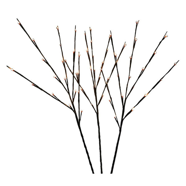 Holiday Bright LED-TWIG60-WWTW Twig with Twinkle Warm White Lights, 3-Set, 32""