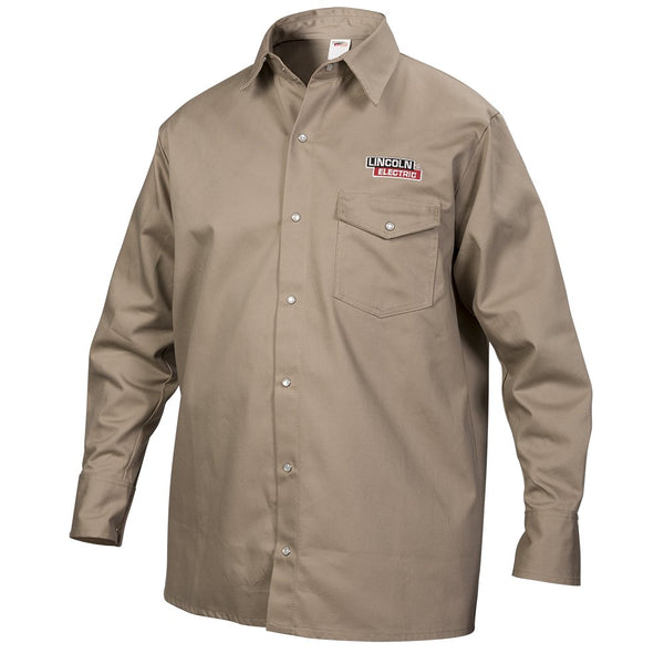 Lincoln Electric KH841L Fire Resistant Welding Shirt, Khaki, Large