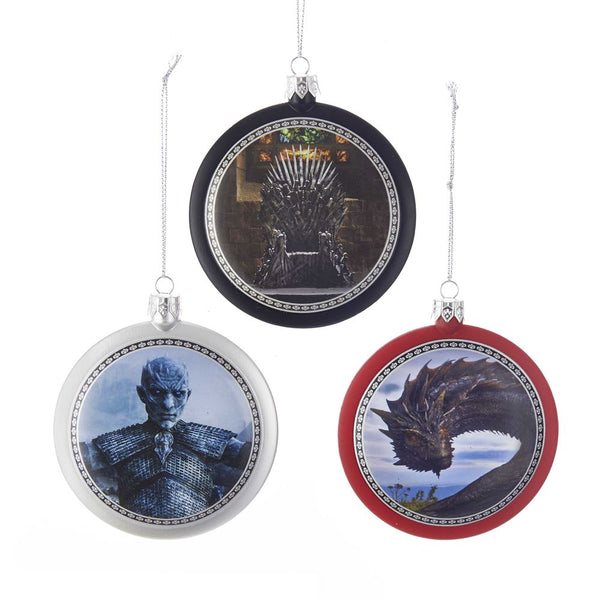 Kurt Adler GO1172 Christmas Game-Of-Thrones Disc Ornaments, 3 Assorted