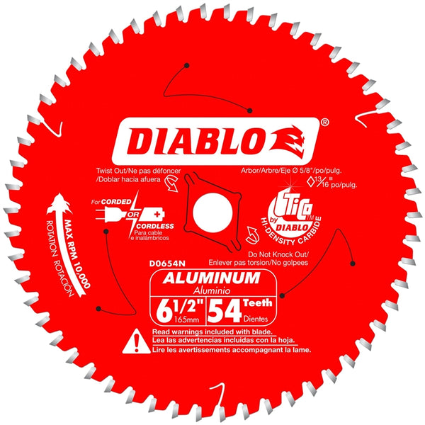 Diablo D0654N Medium Aluminum Cutting Saw Blade, 54 Tooth, 6‑1/2""