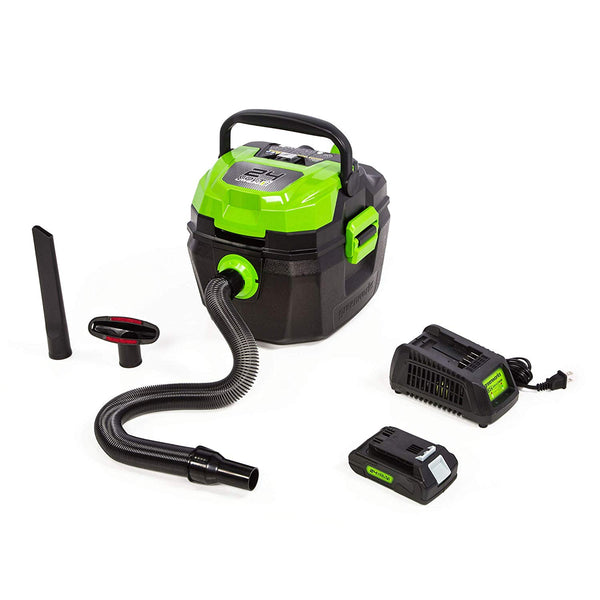 Greenworks 4700402 Cordless Wet / Dry Shop Vacuum with Filter, 24V, 3 Gallon