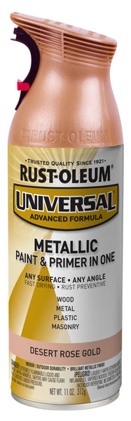 Rust-Oleum 342919 Universal Metallic Spray Paint, 11 Oz, Desert Rose Gold