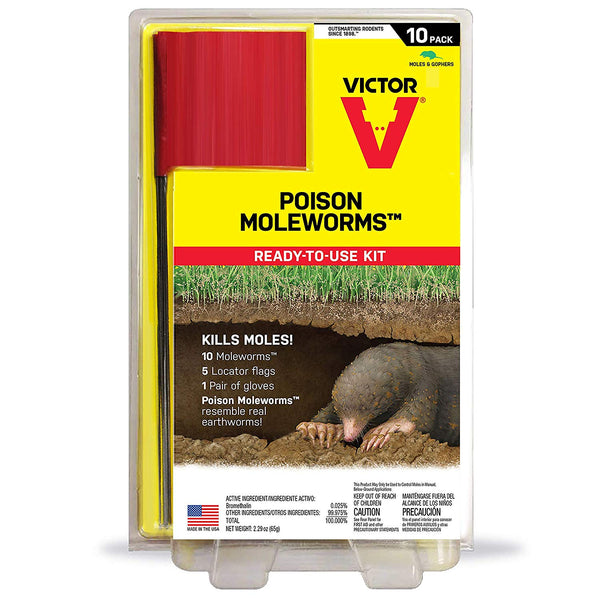 Victor M6009 Poison Moleworms Ready-To-Use Kit, 10-Pack