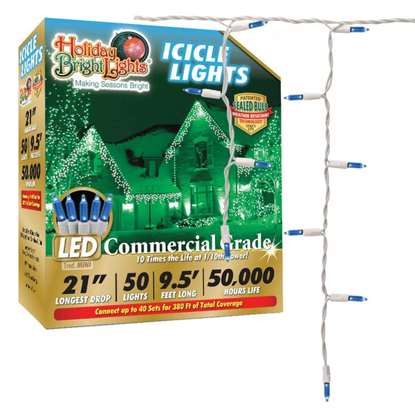 Holiday LEDBX-T570IC-BL Christmas Blue T5 LED Icicle 70-Light Set, White Wire