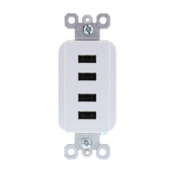 Legrand TM8USB4WCCV4 Radiant Quad USB Charger, White, 4.2 Amp