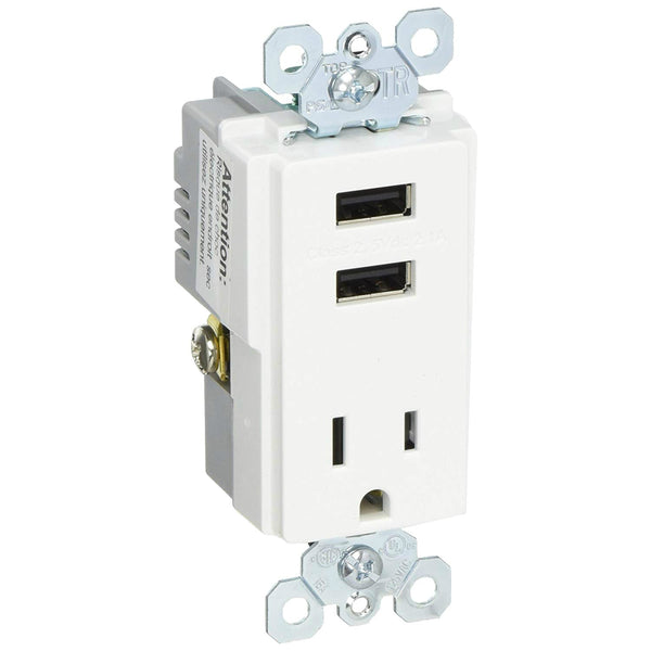 Legrand TM8USBWCCV6 Dual 2.1A USB Charger with Tamper-Resistant Outlet, White