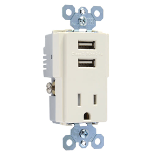 Legrand TM8USBLACCV4 Dual USB Charger with Tamper-Resistant Outlet, Light Almond