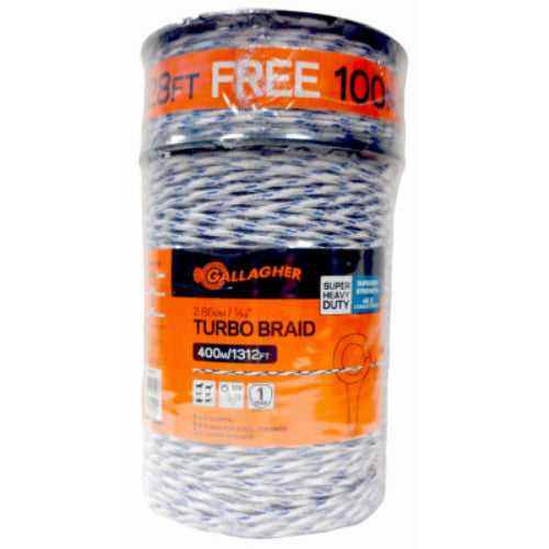 "Gallagher G62148 Turbo Braid for Portable Electric Fencing, 7/64"" x 1312'"