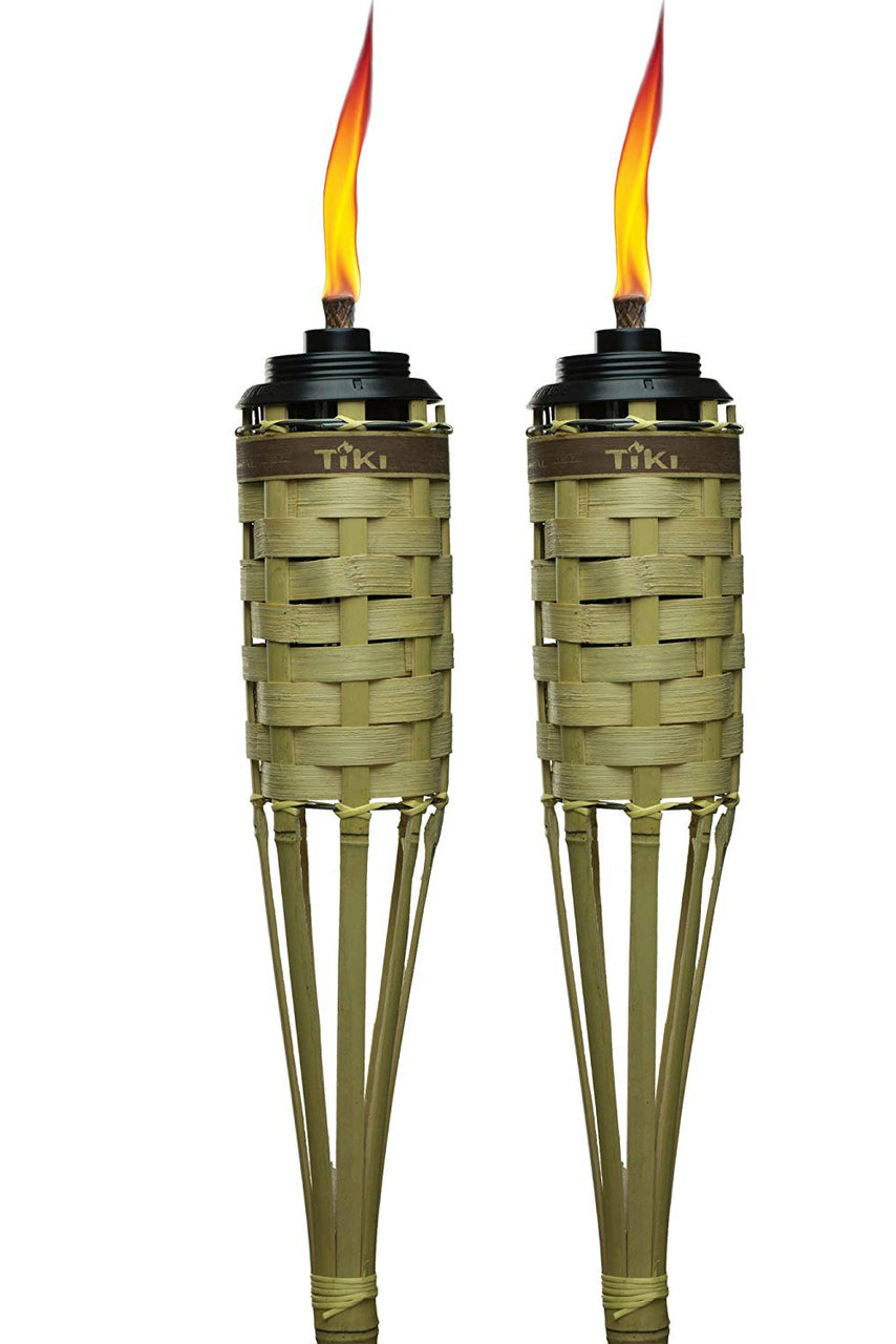 "TIKI 1113199 Barbados Bamboo Torch with Easy-Pour System, 57"", Natural, 2-Pack"