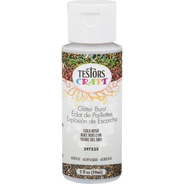 Testors 297525 Glitter Burst Craft Acrylic Paint, Gold Rush, 2 Oz