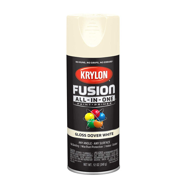 Krylon K02706007 Fusion All-In-One Paint+Primer Spray, Gloss Dover White, 12 Oz