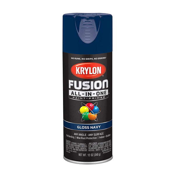 Krylon K02714007 Fusion All-In-One Paint + Primer Spray, Gloss Navy, 12 Oz