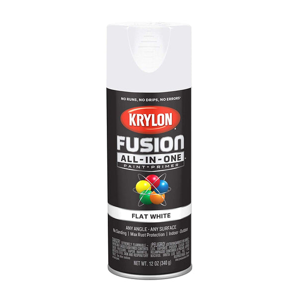 Krylon K02730007 Fusion All-In-One Paint & Primer Spray, Flat White, 12 Oz