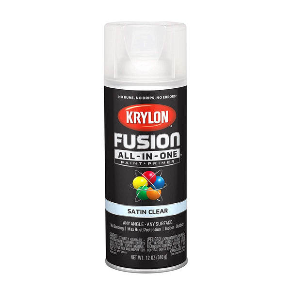 Krylon K02735007 Fusion All-In-One Paint & Primer Spray, Satin Clear, 12 Oz