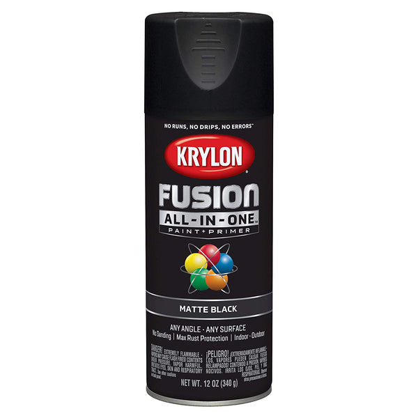 Krylon K02754007 Fusion All-in-One Spray Paint + Primer, Matte Black, 12 Oz