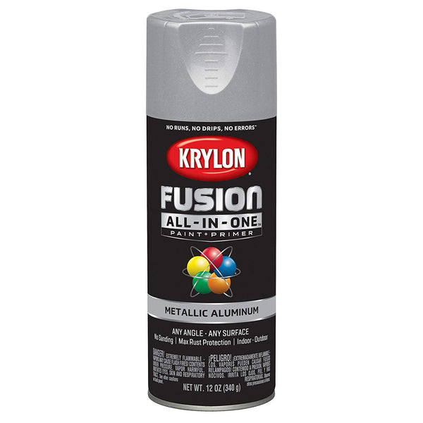 Krylon K02766007 Fusion All-in-One Spray Paint+Primer, Metallic Aluminum, 12 Oz