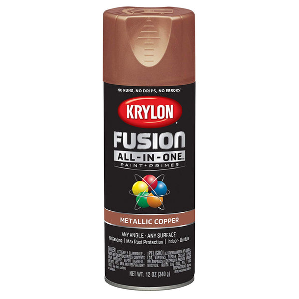 Krylon K02768007 Fusion All-in-One Spray Paint + Primer, Metallic Copper, 12 Oz