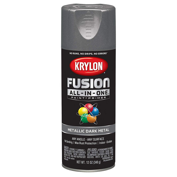 Krylon K02769007 Fusion All-In-One Paint+Primer Spray 12 Oz, Metallic Dark Metal